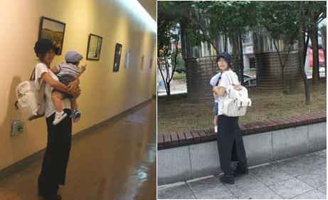 Hôm đầu tuần, Shoo bị bắt gặp khi bế con trai đi tham quan bảo tàng.