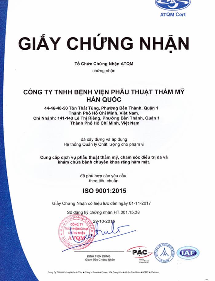 International standard (ISO) 9001:2015 certificate
