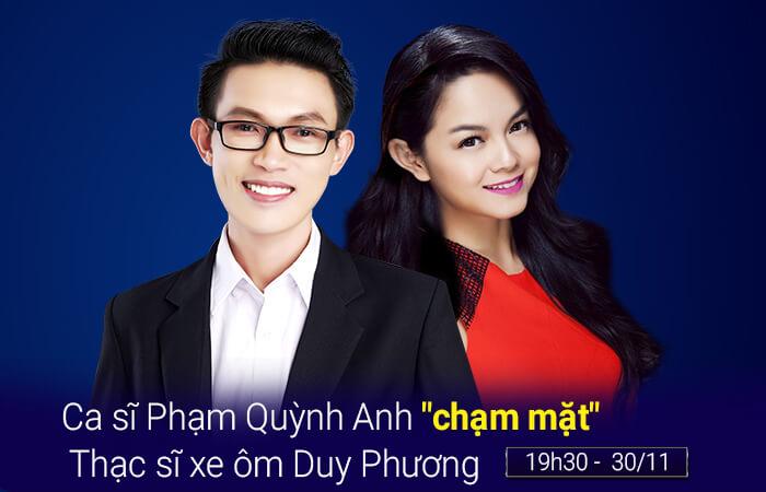 """Ca sĩ Phạm Quỳnh Anh """"chạm mặt"""" Thạc sĩ xe ôm Duy Phương"""
